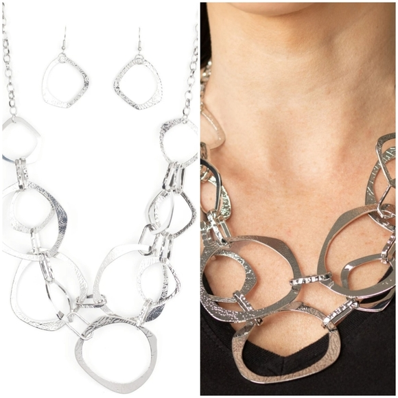 SALVAGE YARD SILVER NECKLACE/EARRING SET